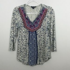 Lucky Brand | Embroidery Floral Top sz XS